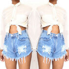 NEW Vintage Women Distressed Denim  Jeans Shorts High Waisted Hotpants PLUS SIZE