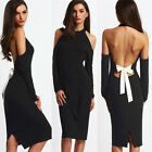 Sexy Backless Womens Long sleeve Slim Bodycon Party Cocktail Evening MINI Dress