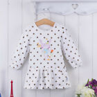 Bebini Baby Kid 1-4T Infant Girl Dress 100% Cotton Clothes Print White Brown