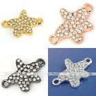 Sideways Star Curved Crystal Metal Bracelet Connector Charm Bead Jewelry Finding