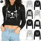 Womens Halloween Hoodies Ladies Crop Tops Skeleton Sweatshirt Cropped Jumper