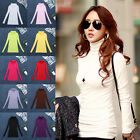 S New Womens Slim Fit Casual Turtleneck Plain T-shirt Pullover Basic Tops Blouse