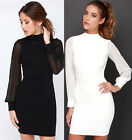 Womens Long Sleeves White Black Sexy Slim Package Hip Mosaic Dress Bodycon