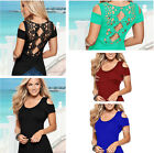 Womens Blouse Short Sleeve Ladies Tank Top T Shirt Casual Hollow Lace Costume