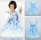 Halloween Women Lolita Maid Strap Dress Vintage Bowknot Party Cosplay Costume