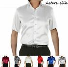 Mens Business Formal Dress Shirts 30 Momme Heavy Weight 100% Pure Silk XS-3XL