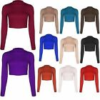 Womens Ladies Cropped Long Sleeves Top Stretch Polo Neck Crop Dance Top T Shirt