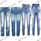 New Womens Ladies Trousers Skinny Fit Stretch Ripped High Waist Denim Jeans Pant