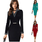 S-2XL Womens Long Sleeve Workwear  Bodycon Party Evening Cocktail Pencil Dress