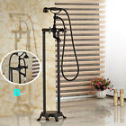 Oil Rubbed Bronze Floor Mounted Tub Shower Faucet With Hand Shower  Mixer Tap