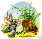 A05 ~ Rabbits in Garden Ceramic Decals,  Bunnies, Vegetables, 4 sizes to choose image