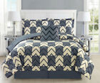 5 Piece Chevron Plaid Gray/Ivory Bed in a Bag Set