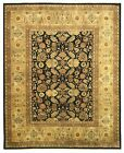 EORC SA58BK Hand Knotted New Zealand Wool Tabriz Rug, 3' x 5', Black