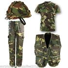 BOYS ARMY OUTFIT KIDS DPM TROUSERS HELMET T-SHIRT TACTICAL VEST FANCY DRESS CAMO