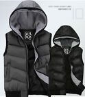 Fashion Men's Hooded Sleeveless Vest Thicken Cotton Casual Coat Jacket US XS-L