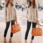 New Womens Long Sleeve Knitted Printed Cardigan Loose Sweater Coat Outwear Top