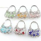 Contain Colorful Beads Hollow Out Flower Dangle Handbag Pendant Fit Necklace