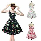 Women Vintage Floral Printed Rockabilly Check Swing Cocktail Halter Dress