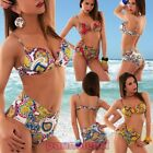 Bikini woman costume push up underwire tapestry padded two pieces new SE469