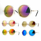 SA106 Mirrored Double Round Metal Rim Circle Lens Hippie Sunglasses