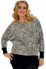 Womens Leopard Ladies Animal Batwing Top Long Sleeve Nouvelle Plus Size 14-28
