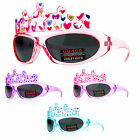 SA106 Kids Girls Tiara Cute Princess Warp Oval Plastic Sunglasses