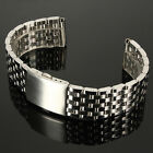 18/20/22mm Silver Stainless Steel 7 Bead Fold Buckle Watch Band USA SELLER