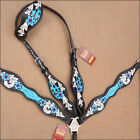 HILASON WESTERN LEATHER ONE EAR HEADSTALL BREAST COLLAR TURQUOISE HAND PAINT