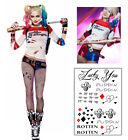Complete Harley Quinn Suicide Squad Costume T-Shirt Shorts Fishnet Tattoos Film
