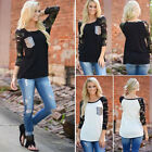 Fashion Womens Camo Long Sleeve Casual T-Shirt Sequined Pocket Blouse Tops Shirt
