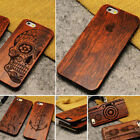Hipster Rose Wood Wooden Natural Carved Engraved Case for iPhone 5 5s 6 6s SE