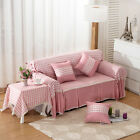 Pink Grid Cotton Blend Lace L-Shaped Sofa Cover Protector for 1 2 3 4 seater L