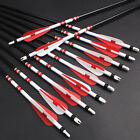 Screw-In Steel Arrows White and Red Wraps Fiberglass Hunting & Target Practice