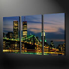 TWIN TOWERS BROOKLYN BRIDGE 3 PANELS CANVAS PRINT READY TO HANG