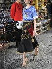 Wholesale 2016 Italy New Runway Embroidery Sequins Blue Top+Noble Fishtail skirt