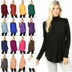 S-3XL Women's MOCK TURTLENECK Relaxed Fit Rayon Long Sleeve PREMIUM Top RT-2115P