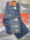 LEVI'S 527 MEN'S SLIM BOOT CUT LOW RISE ZIP FLY DESTRUCTED JEANS BLUE BARNACLE