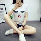 Eyelash Multi-Color Painted Lips White T-Shirt