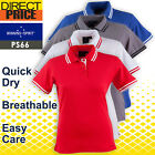 Ladies Polo Casual Short Sleeve Sports Golf Contrast Breathable UPF 30 10 Colors