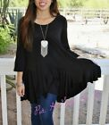 PLUS SIZE LITTLE BLACK BOHO BABYDOLL 3/4 SLEEVE FULL FLARE TUNIC TOP 1X 2X 3X