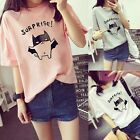"Women Girl Korean Summer Short Sleeve T-Shirt Student Top ""Suprise"" Blouse"