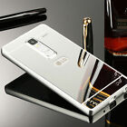 US Luxury Metal Aluminum Frame Bumper Case + PC Mirror Back Cover For LG Phone