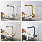 Deck Mounted Kitchen Sink Faucet Swivel Purified Spout Dual Handles Mixer Tap