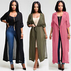 Fashion Womens Lapel Trench Coat Cardigan Jacket Long Windbreaker Parka Outwear