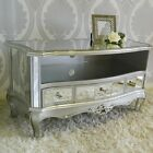 Silver Mirrored Ornate TV Stand Television Unit Furniture Living Room Glass Chic