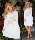 White Gold Red Glitter Reindeer Long Sleeve Scoop Neck Loose Tunic Tee Shirt NWT