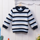 Bebini Baby Kid 9-36M Infant Boy Sweater Cardigan 100% Cotton Printed Navy Strip
