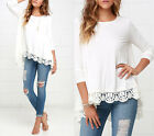 New Fashion Women Long Sleeve Shirt Casual Lace Floral Blouse Loose Tops T-Shirt