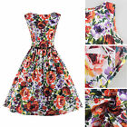 Women Vintage Sleeveless Floral Printed Cocktail Prom Party Swing Dress Belt