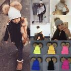 Women Kids Winter Beanie Hat Wool Knitted CRYSTAL Fashion Large Fur Pom Pom